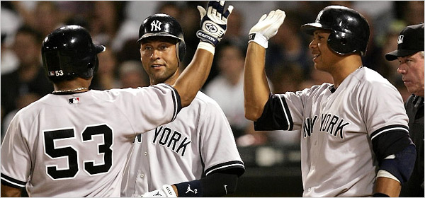 Former Yankee Bobby Abreu  with then teammates  Derek Jeter and  Alex  Rodriguez .............ner