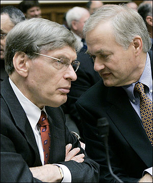 Commissioner Allan 'Bud' Selig and players' representative  Donald Fehr share a few pleasantries up on Capitol Hill prior to addressing members of  Congress  ............