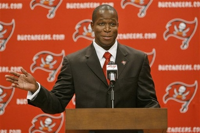 Raheem Morris  introduced  to  the  convened  press  as  the  Buccaneers'  new  head  coach  ...................