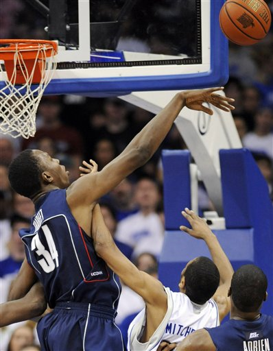 Hasheem  Thabeet  of  Connecticut  and  one of  the nine blocked  shots  recorded  in the  game  against   Seton  Hall.  picture appears courtesy  of ap/photo/ Bill  Kostroun ..........