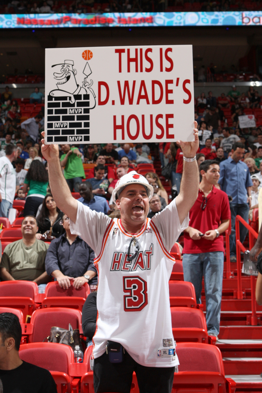 A  Miami  Heat  fan  makes  it  plainly  known  where  his  allegiances  lie in  expressing  his  sentiments  towards  his  favorite player  Dwyane Wade.