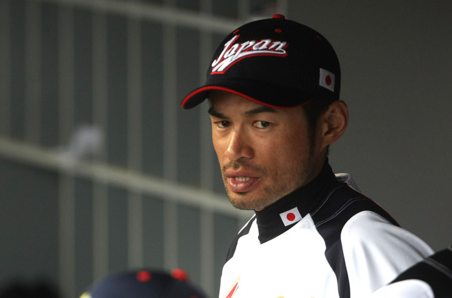 Japan's   Ichiro  Suzuki   in the  dugout   prior  to the  semi  final   game played   against  the  USA.