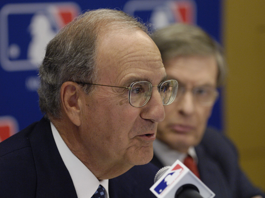 Former Senator  George  Mitchell  and  Major  League Baseball  Commissioner  Allan 'Bud'  Selig  seen  here   at the  announcement   that  the   announcement  the   reported   investigation   known as The Mitchell Report  has  reached  its  culmination.