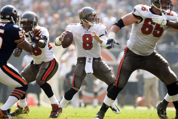 Brian  Griese (8)  seen  here  playing   for   the  Tampa  Bay Buccaneers.   Griese is  now  in  his  second spell  with the  team as  a  player.     picture appears  courtesy  of  getty  images/   Chris  Covey