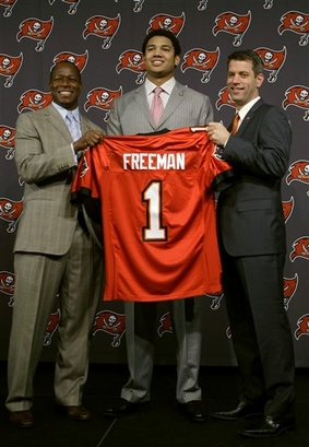 The  Buccaneers   with  their  first  round draft pick  Josh  Freeman