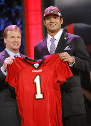 Josh Freeman  seen  here  alongside NFL  Commissioner   Roger  Goodell  on  Draft  Day.   The venue  for the  draft  was the  Radio  City  Music  Hall  in  New York  City , New York.