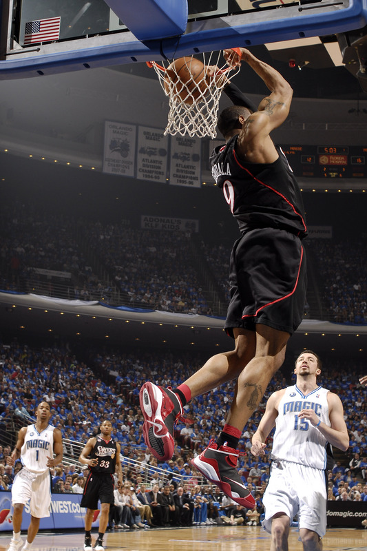 Iguodala makes  the  reverse  dunk  during  the  playoff  game against the  Orlando  Magic.