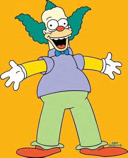 Animated   tv character  Krusty  The  Clown  from  the  Fox  animated series  'The Simpsons' .