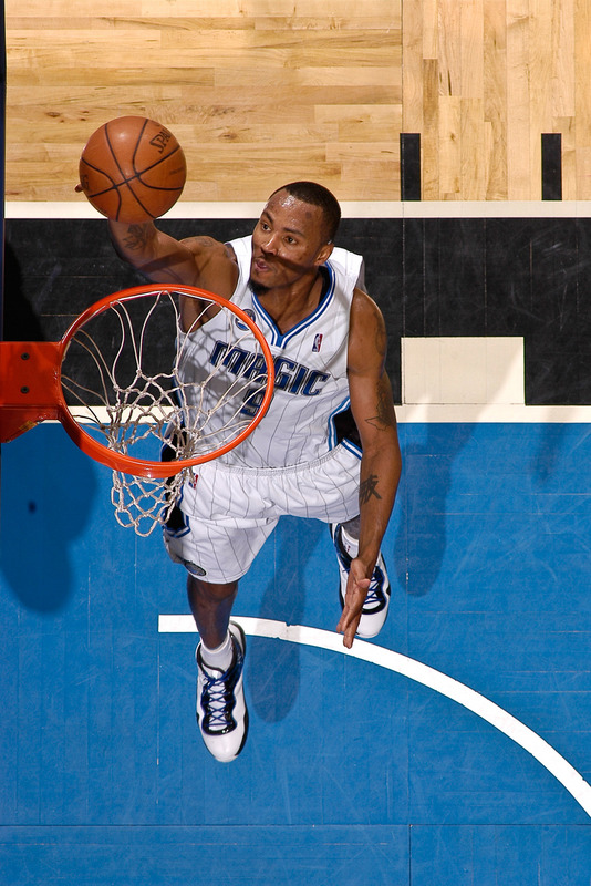 Rashard Lewis  of  the  Orlando  Magic   with the one  handed   dunk .