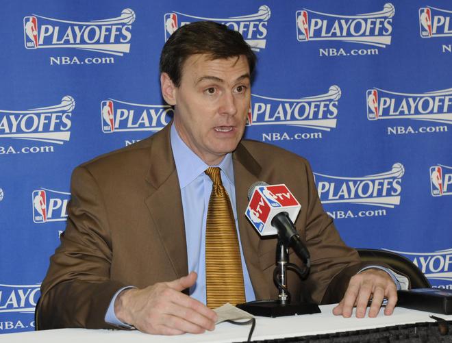 Rick Carlisle coach of  the  Dallas Mavericks  addresses  the  press  in  his  postgame  interview.