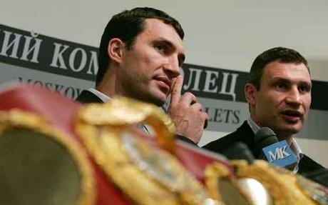 Ukraninan   brothers Wladimir  and  Vitali    Klitschko who  jointly   hold   two  of the  four recognized belts within  the  heavyweight   division.
