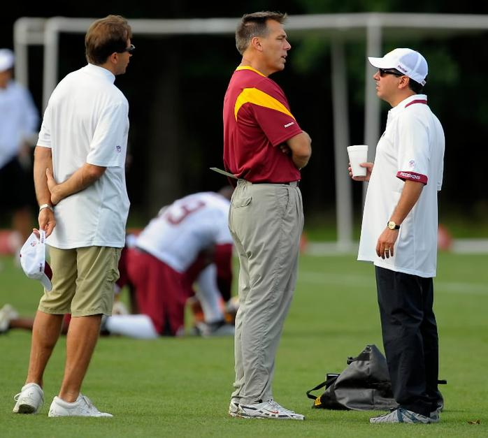 Jim  Zorn  (center)  and  team  owner   Daniel  Snyder  (right) at the  team's   training  facility   in  Ashburn  ,  Virginia  .    picture  appears  courtesy  of   getty images/   Chris    Hendricks    ........................
