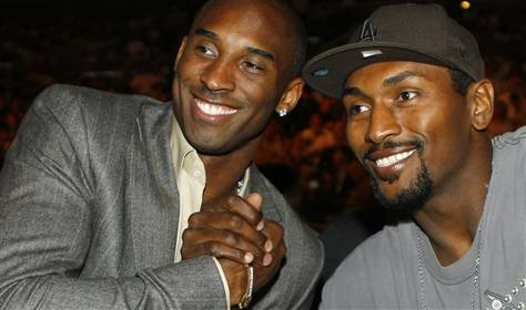 Kobe  Bryant  (left) and   newly  minted  teammate  Ron  Artest   picture  appears   courtesy  of  reuters /  Mike   Blake  ..............................