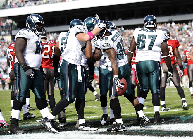 Brian  Westbrook (36) of  the  Philadelphia  Eagles   celebrates  his  touchdown  during   the  game  against  the  Tampa  Bay  Buccaneers.      picture   appears   courtesy  of   getty  images  /  Jeff   Zelevansky     ..........................