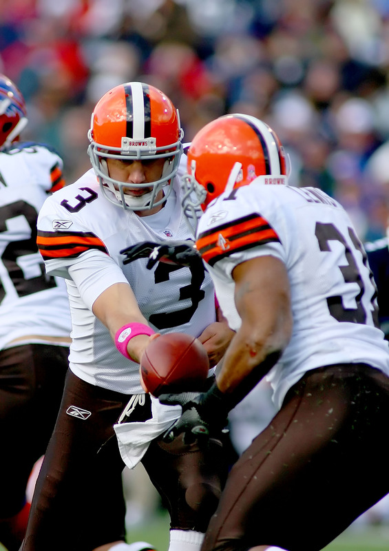 Browns'   quarterback   Derek  Anderson   (3)   hands   the  ball  off  to   running   back   Jamal  Lewis   (31)   during  the  game   against the    Buffalo  Bills   at    Ralph  Wilson   Stadium   in   New  York   ,  New  York City,.         picture   appears  courtesy  of     getty  images  /  Rick  Stewart   .........................