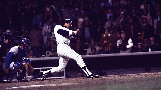 Jackson  hits   one  of three  monumental   home  runs   during  the  game   in  the  1977  World   Series   played  against  the  Los  Angeles  Dodgers .     picture  appears  courtesy    of   baseball archives  ............  Jed  Patterson  ................................
