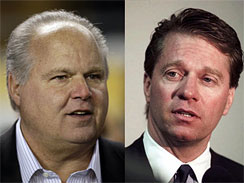 Limbaugh ,left   , shown  here   with  then   potential   partner  Dave   Checketts .      picture  appears  courtesy  of   ap/photo/ Mark   Robertson    .......................
