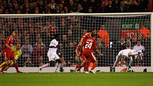 Maxim   Gonalons  heads  the  winning   goal   for   Lyon  in their  upset   victory    2-1   over   Liverpool  in  the  Champions  League   group  match  at  Anfield.     The  Merseysiders   now   face  a  tough  away  match  against   their   French  opponents    when  the  two  re-meet   in  Lyons,  France.      picture  appears   courtesy  of   ap/photo/  Mark  Nuttall   ........................