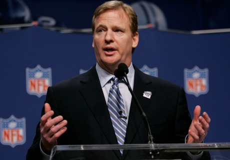 NFL   Commissioner   Roger   Goodell   seen  here  addressing   members  of  the  media  .        picture  appears  courtesy  of  ap/photo/ Noah  Rogers   ...........................