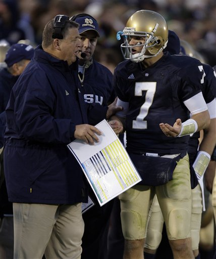 Notre  Dame  quarterback  Jimmy Clausen  and  team  coach  Charlie  Weis   discuss  the   options   for the  last   play   of the  game   against   the  USC (Trojans).   Notre  Dame   would  go   on   to  lose  the   game   34-27   when   Clausen's   last   ditch   attempted   pass   was   an  incomplete   into the endzone.     The   game  was   played   in  South  Bend,  Indiana,.  picture appears  courtesy of   ap/photo/ Michael  Conroy   ..................