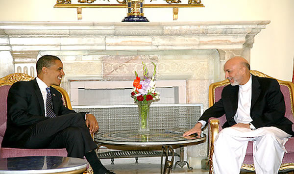 President  Obama (left)    seen  here   with   Afghan  President ,  Hamid  Karzai.     Karzai   was   recently re-elected  to  the  post  in  an  election   that  was  said  to   be  rife   with   corruption.      The  opposing  candidate    Abdullah  Abdullah    has  stated  that   Karzai   supporters  were   integrally  behind  much  of   the   coruptional   voting   fraud  that  took  place.   Whereas  Karzai,  himself   has  stated  that   his   opponent's  supporters  was  behind   much  of  what  had   taken  place.    Either  way  there's  no   questioning   as to the   graft  that's   now   said  to  be    still   taking   place  inside  Karzai's   administration  .     picture  appears   courtesy  of   guardian.co.uk /  archives/   Tom  Spencer  ...................