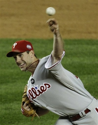 Phillies' ace  Cliff  Lee  pitches  in  the  ninth  inning  of game one  of the  World  Series .  Lee  pitched  a  complete   game   for  the  NL  Pennant  winners    against the  New  York  Yankees  at   Yankees  Stadium , in  the Bronx,  New  York City.,    The  Phillies  are   now  1-0    having  defeated  New  York  6-1  in the   best  of   7  game  series.     picture  appears  courtesy  of  ap/photo /Julie   Jacobson   ........................