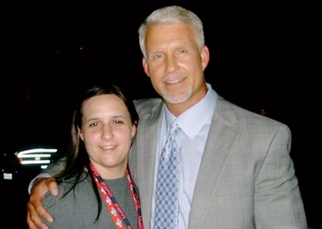 Phillips ,46,  seen  here  in  a  picture   with ESPN  production  assistant  ,  22  year  old ,   Brooke Hundley.     picture   appears   courtesy  of  the producers/weei.com/sports/boston/ dennis    ...................