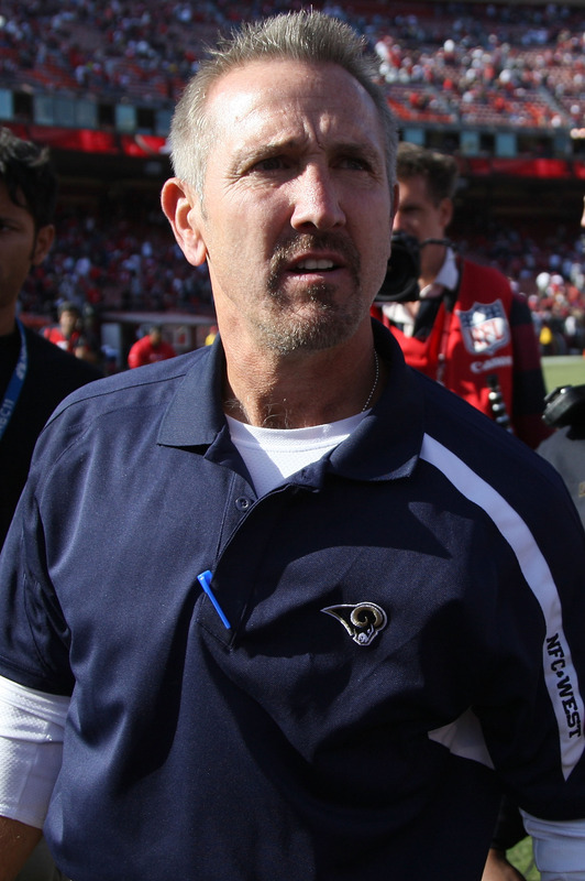 Rams'  coach  Steve  Spagnuolo   looks  on  as  his   team  plays  the  San  Francisco  49ers   in  an  NFC  West   divisional   match  up.    The  Rams   would   go  on  to  lose  the  game  in a  lopsided   rout   35-0    the   Forty  Niners.   picture appears   courtesy  of   getty  images  / Jed  Jacobsohn  ........................