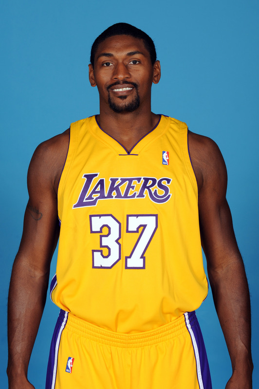 Ron  Artest   of the  Los  Angeles  Lakers   poses   for  his  official  team  photograph  at  the  team's  training  facility   in  El  Segundo,  California.    Artest   brings along  a  great  deal  of  veteran   experience  and  it's   hoped   leadership   that'll   prove  invaluable  alongside  that   of    his  teammate  Kobe  Bryant.      picture  appears courtesy  of  nbae/getty  images/   Juan Ocampo    ......................
