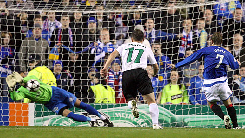 Steven  Davis (17) of  Glasgow  Rangers  of  the  Scottish  Premier  League  misses a  golden   opportunity  to   score  against  Unirea  Uriceni .   Rangers   would   go  on  to  lose   4-1   in  the  divisional   group   game.       picture  appears   courtesy  of    getty  images/  Alastair   Higgins    .............................