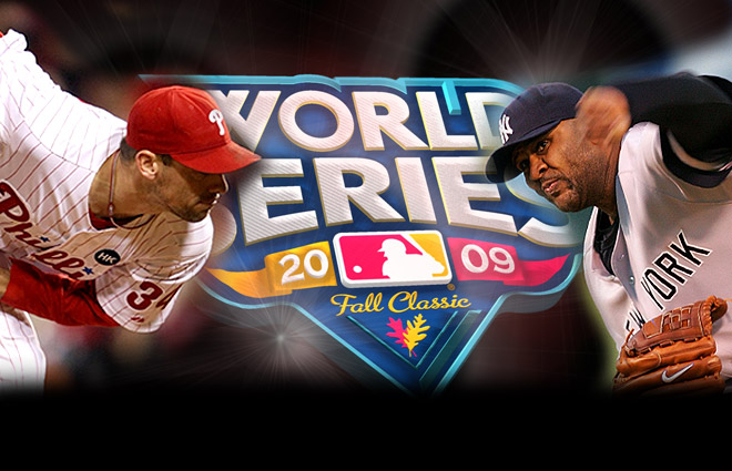 The  2009  World  Series  between the  New  York  Yankees  and  the  Philadelphia  Phillies.  Tonight's  starters  are   pictured  ,   Cliff Lee  of  the  Phillies ,  left and  the  Yankees'   C. C  Sabathia  ,  right.         picture appears  courtesy  of  getty  images  .....................................