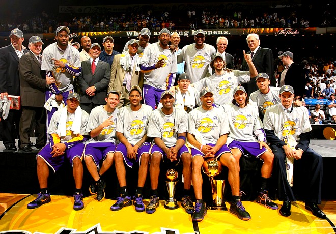 The  NBA  champions  of  the  2008-09   season  , the  Los  Angeles   Lakers.   The   franchise   secured  their   15th   NBA title   at  the  expense  of  the  Eastern  Conference's Orlando  Magic.     picture  appears  courtesy of NBAE/ Getty Images/   Nathaniel  S. Butler  ....................