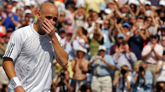 A  tearful  Andre  Agassi  at his  final  US  Open  in  2006   staged  at  the  US  National  Tennis  Center  in  Flushing,  New York   City,  New York.     picture  appears  courtesy of  ap/photo/  Marcus  Coles ...............