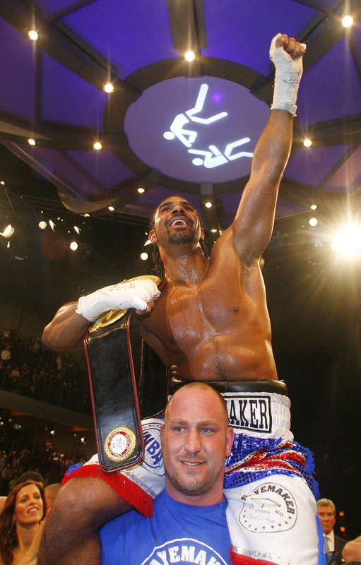 A  victorious  Haye  cannot hide his  emotions having  just  pulled off  the  shock  upset  in  defeating the  now  former  champion  Nikolai  Valuev of  Russia  for  his  WBA heavyweight title   in  Nurumberg   Germany  on  Saturday  night.     Haye  now faces  a  mandatory  defense  against  another  former  champion  in  John  Ruiz  of the  United  States.    picture appears courtesy of  afp/getty images/  Timm  Schamberger .................