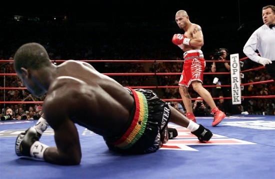Cotto stands  over  Joshua  Clottey in the  first round of  their WBO welterweight  title  fight.  Referee  Arthur Mercante Sr,  looks  on  at the events  .     picture appears courtesy  of  Top  Rank Inc.  - Chris  Farina  ................