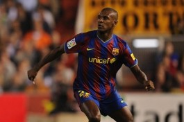 Barcelona central defender  Eric  Abidal  .    picture appears courtesy  of  getty  images @ all rights  reserved