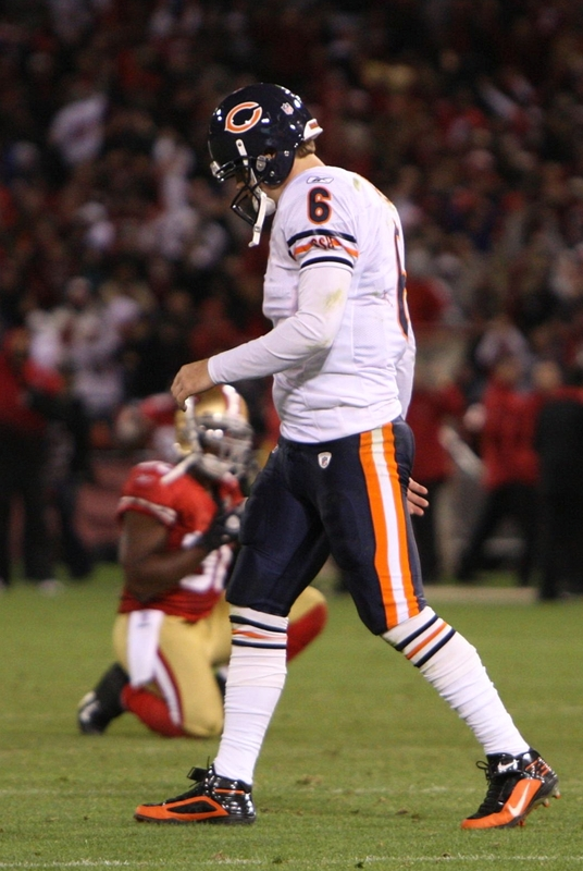 Jay Cutler (6) of the Chicago Bears walks off the field dejected after their 10-6 loss against the San Francisco 49ers at Candlestick Park on November 12, 2009 in San Francisco, California.    picture appears courtesy of  getty images/ Jed Jacobsohn   ...............
