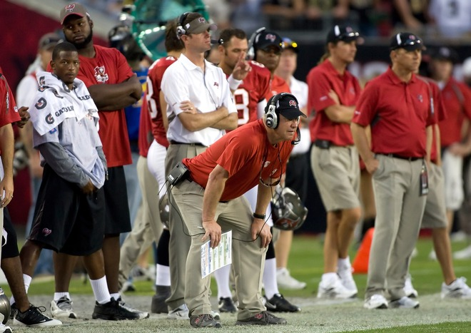 Tampa, Florida- 22nd November  2009. Defensive coordinator Jim Bates of the Tampa Bay Buccaneers watches his team against the New Orleans Saints during the game at Raymond James Stadium on November 22, 2009 in Tampa, Florida.  picture  appears courtesy of  getty images/ J. Meric  ..........