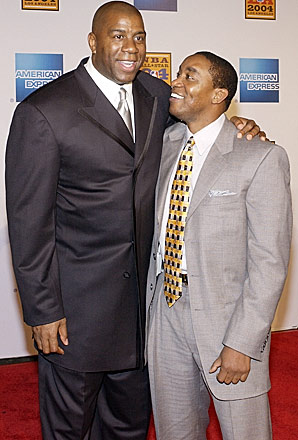Johnson  and  Thomas  seen  here  in   public   exchanging  a  few pleasantries   at   some  point  in   2004 .