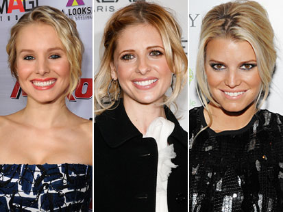 Kristen Bell , Sarah Michelle  Gellar and  Jessica  Simpson ,  presumably  amongst  the   front  runners to  reprise the roles made  famous  by  Jaclyn Smith ,  Farrah  Fawcett-Majors  and  Kate  Jackson .   picture  appears courtesy of  abctv/getty images  ..............