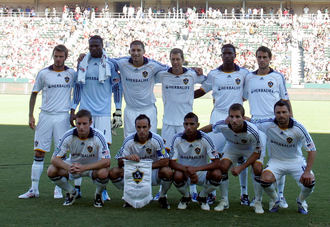 The Los  Angeles  Galaxy  team  seen  here   prior  to the  MLS Western  Conference  Semi-finals  match  against  Chivas  USA  in  game   played at the  Home Depot  Center  in  Carson,   California,.   The  game  would  end  in a  2-2 tie  .   picture appears  courtesy  of  getty images/  Victor Decolongon  ..................