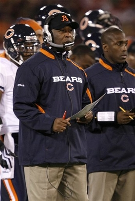 Chicago Bears head coach Lovie Smith watches as the Bears play the San Francisco 49ers in the second quarter of an NFL football game in San Francisco, Thursday, Nov. 12, 2009.     picture appears courtesy of ap/photo/  Marcio Jose  Sanchez   ....................