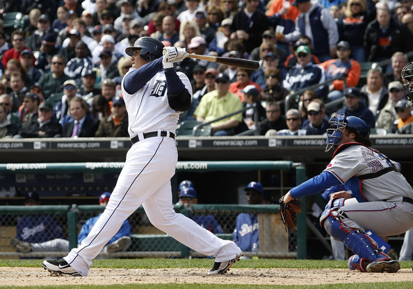 Miguel Cabrera (24) of the Detroit Tigers watches his fourth inning grand slam in front of Jarrod Saltalamacchia (21) of the Texas Rangers during Opening Day on April 10, 2009 at Comerica Park in Detroit, Michigan.    picture appears courtesy of  Getty Images/  Gregory  Shamus .........................