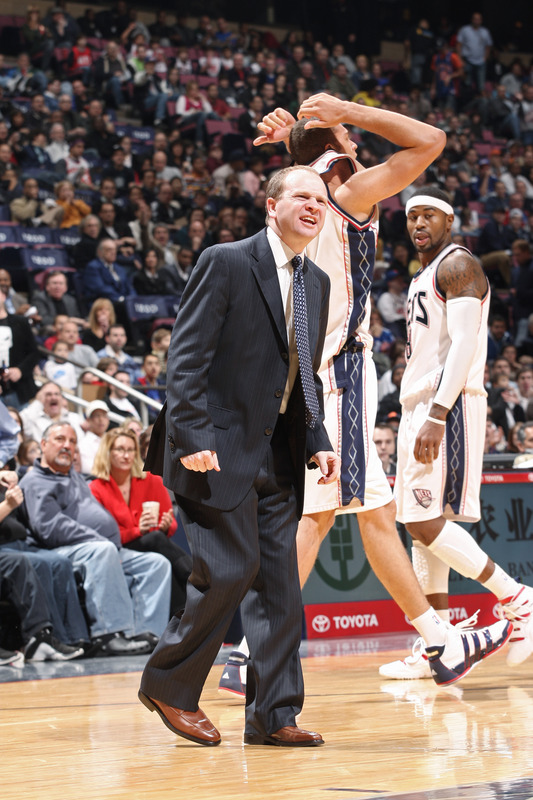 East Rutherford , NJ - November 21: Lawrence Frank of the New Jersey Nets argues a call against the New York Knicks on November 21, 2009 at the Izod Center in East Rutherford, New Jersey. Frank received a technical foul as a result of the play.