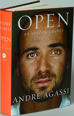 Open   Andre  Agassi's   autobiography  written in  conjunction with  Pullitzer  prize  winning  author   J R Moehringer    picture appears courtesy  of   sports  illustrated /si.com .................
