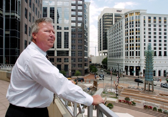 Orlando Mayor  Buddy  Dyer  looks  out  from his  office  in  downtown  Orlando