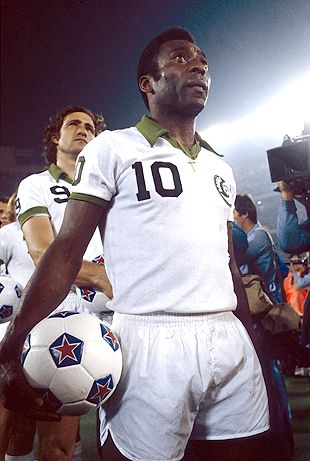 Pele`  seen  here  as    member of    the  New  York  Cosmos   of the  NASL