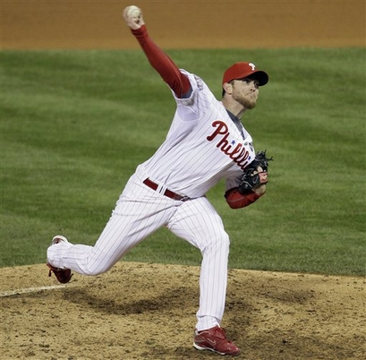 Phillies'  closer  Brad  Lidge  on  the  mound  in the  ninth  inning   of  game  4  of the   World   Series   against the New York  Yankees.  Lidge  would   give   up  three  runs   in  the  inning,  enabling  the  Yankees  to   earn a  7-4   victory  in  the  game   and  now   go  up   3-1   in the  series.   The Yankees   are now  but  one   win  away  from  winning  their   twenty  seventh   World Series  title.      picture  appears  courtesy  of  ap/photo / Rob  Carr  ...................