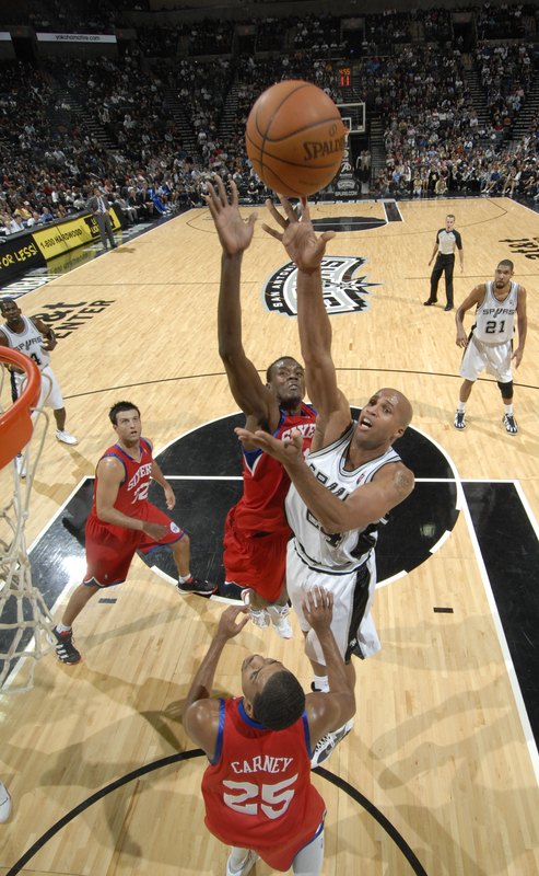 San Antonio, Tx, November  29th. Richard Jefferson (24) of the San Antonio Spurs shoots against Samuel Dalembert (1) of the Philadelphia 76ers on November 29, 2009 at the AT&T Center in San Antonio, Texas. NOTE TO USER: picture appears courtewsy  of  NBAE/Getty mages/D. Clarke Evans .........
