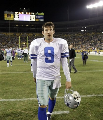 Dallas Cowboys quarterback Tony Romo walks off the field after the Cowboys' 17-7 loss to the Green Bay Packers in an NFL football game Sunday, Nov. 15, 2009, in Green Bay, Wis. picture  appears courtesy of  ap/photo/ Jim Prisching  .................